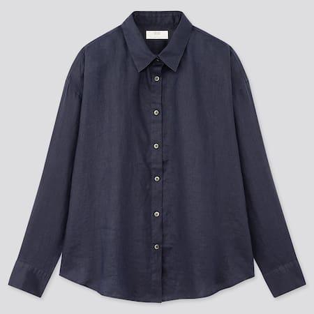 Women 100% Premium Linen Long Sleeved Shirt