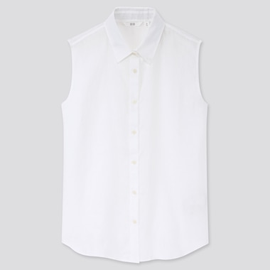 Women Premium Linen Sleeveless Shirt, White, Medium