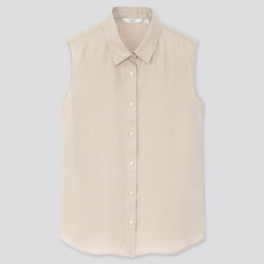 Women Premium Linen Sleeveless Shirt, Natural, Medium
