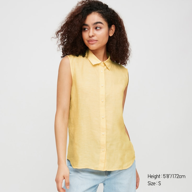 Women Premium Linen Sleeveless Shirt, Yellow, Large