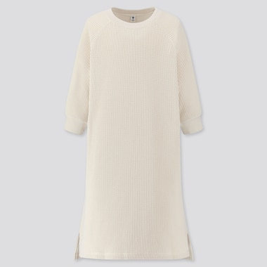 GIRLS WAFFLE CREW NECK 3/4 SLEEVE DRESS, OFF WHITE, medium