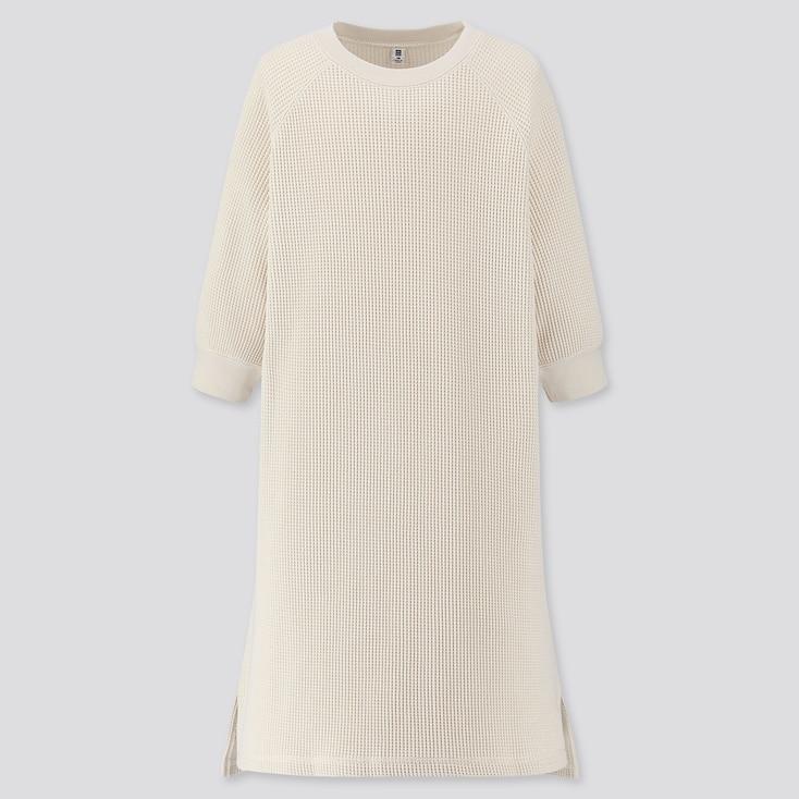 GIRLS WAFFLE CREW NECK 3/4 SLEEVE DRESS, OFF WHITE, large