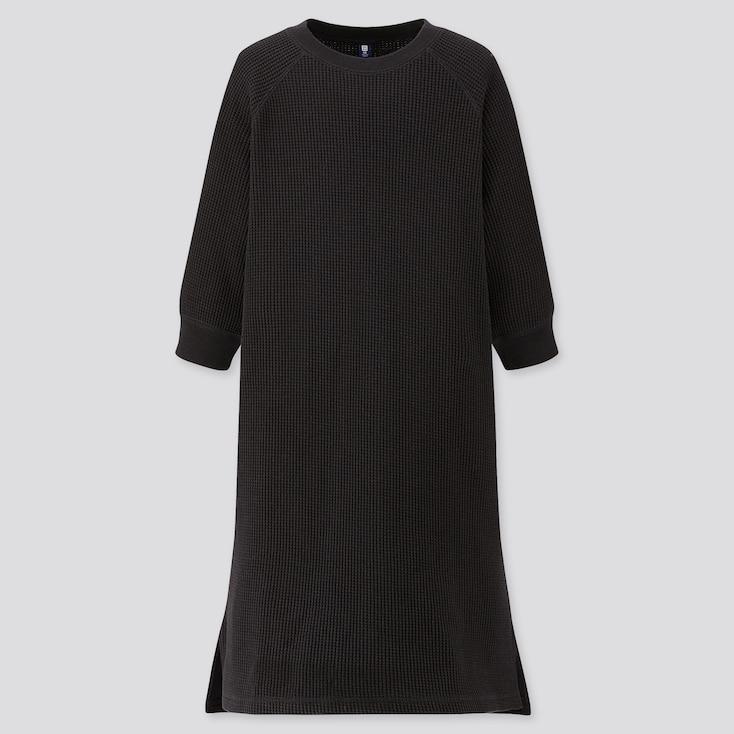 GIRLS WAFFLE CREW NECK 3/4 SLEEVE DRESS, BLACK, large