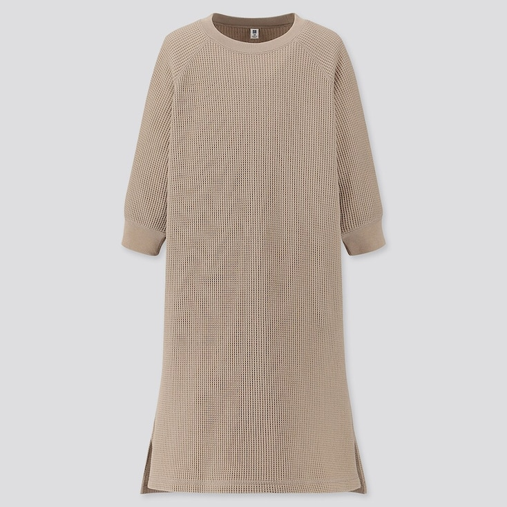 GIRLS WAFFLE CREW NECK 3/4 SLEEVE DRESS, BEIGE, large