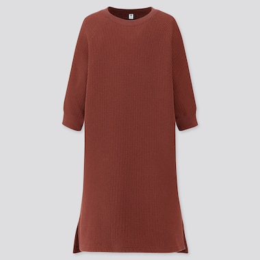 GIRLS WAFFLE CREW NECK 3/4 SLEEVE DRESS, BROWN, medium