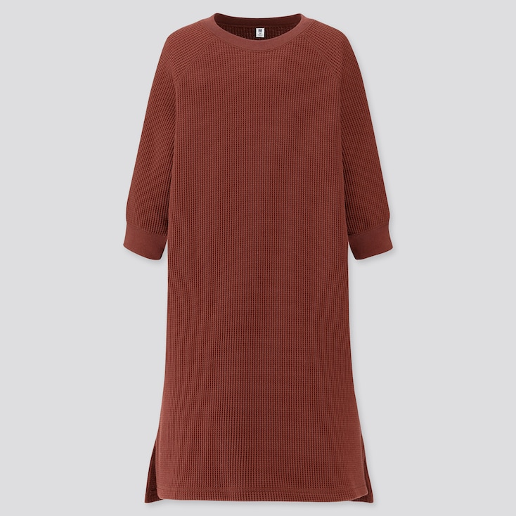 GIRLS WAFFLE CREW NECK 3/4 SLEEVE DRESS, BROWN, large