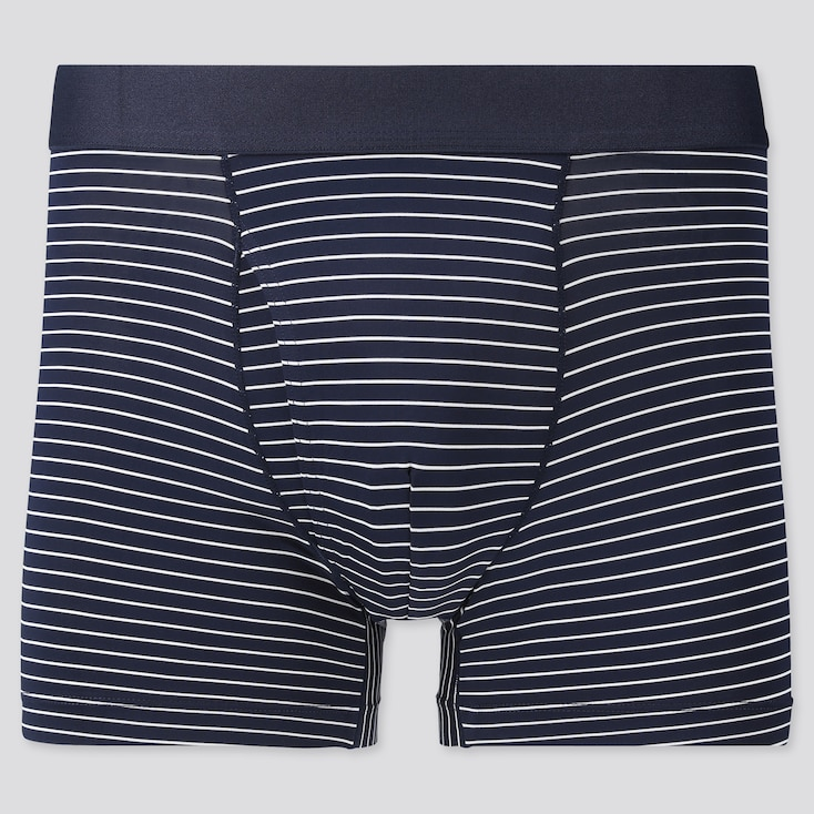 Men Airism Striped Boxer Briefs, Navy, Large