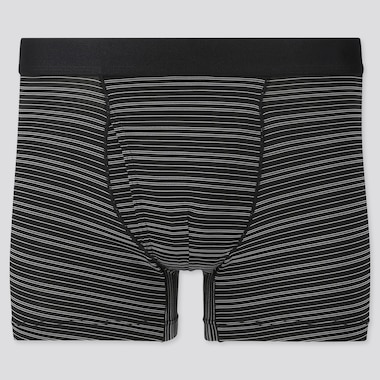 Men Airism Striped Boxer Briefs, Black, Medium
