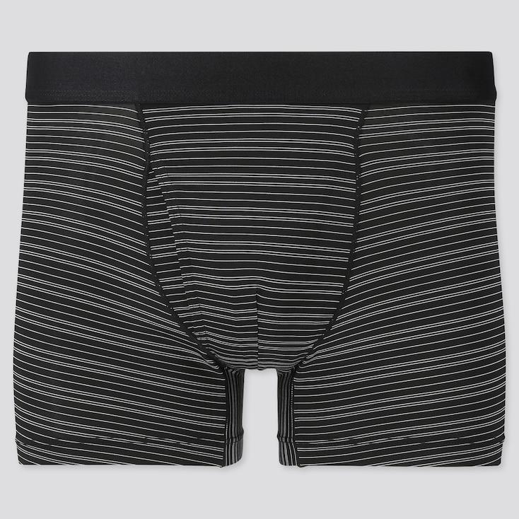 Men Airism Striped Boxer Briefs, Black, Large