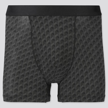 Men Airism Printed Boxer Briefs, Black, Medium