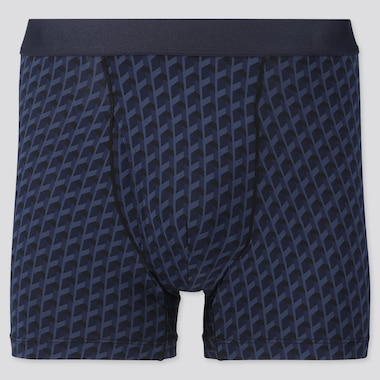 Men Airism Printed Boxer Briefs, Blue, Medium