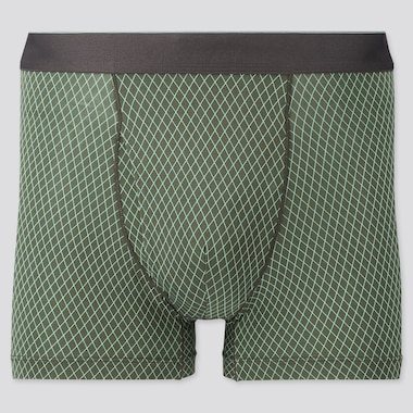 Men Airism Printed Boxer Briefs, Green, Medium