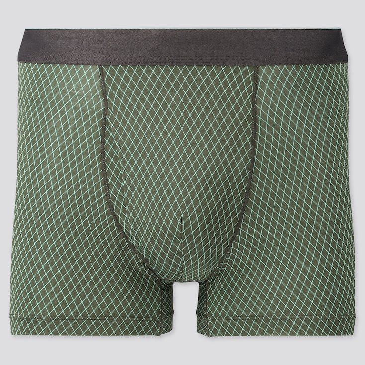 Men Airism Printed Boxer Briefs, Green, Large