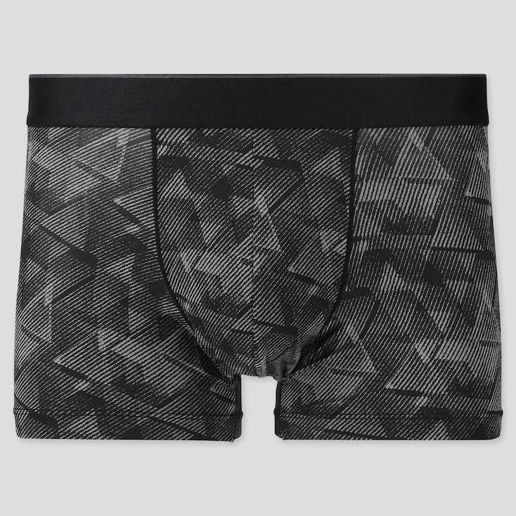 Men Airism Low-Rise Striped Boxer Briefs, Gray, Large