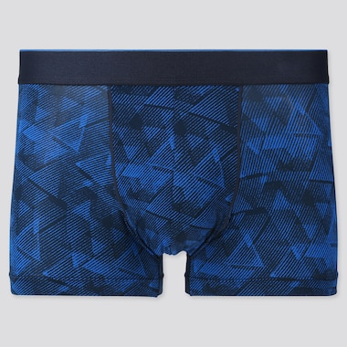 Men Airism Low-Rise Printed Boxer Briefs, Blue, Medium