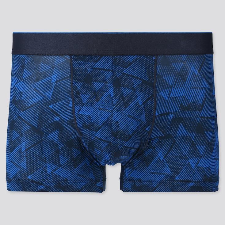 Men Airism Low-Rise Printed Boxer Briefs, Blue, Large