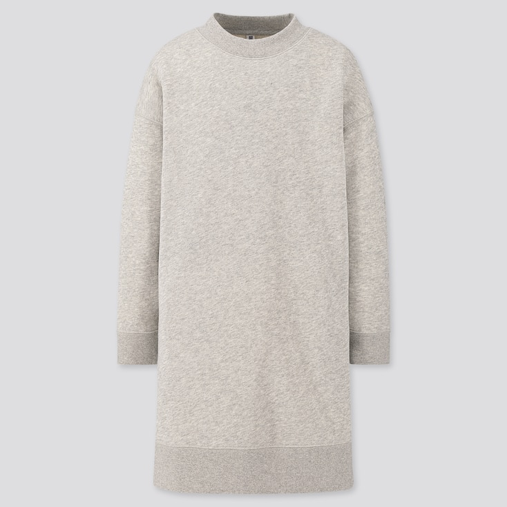 Girls Sweat Long-Sleeve Dress, Gray, Large