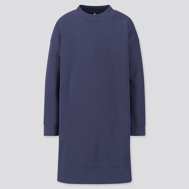 Girls Sweat Long-Sleeve Dress, Navy, Large