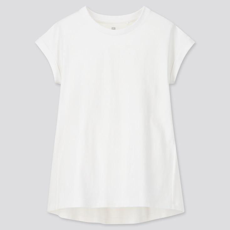 Girls Gathered Short-Sleeve Tunic, White, Large