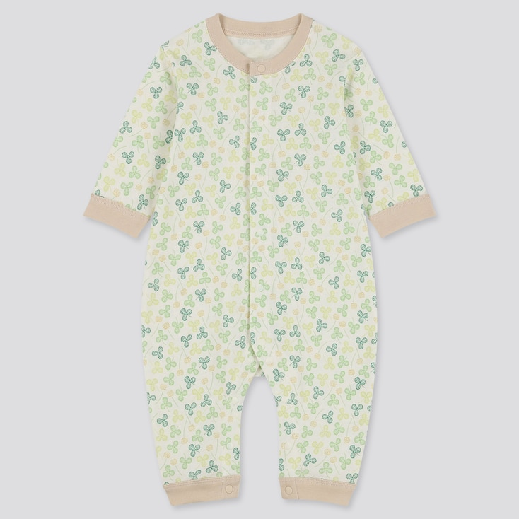 Newborn Long-Sleeve One Piece Outfit, Off White, Large