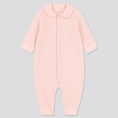 Newborn Waffle Long-Sleeve One-Piece Outfit, Pink, Medium