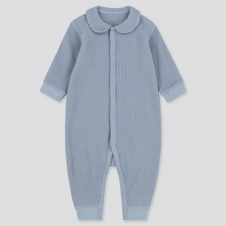 Newborn Waffle Long-Sleeve One-Piece, Blue, Large