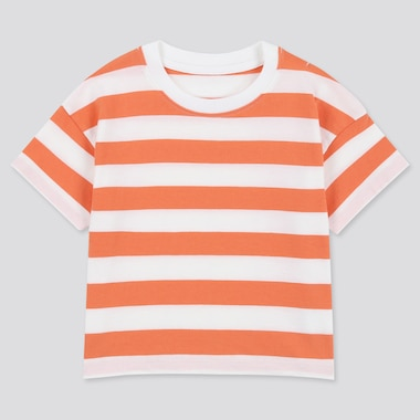 Toddler Crew Neck Striped Short-Sleeve T-Shirt, Orange, Medium