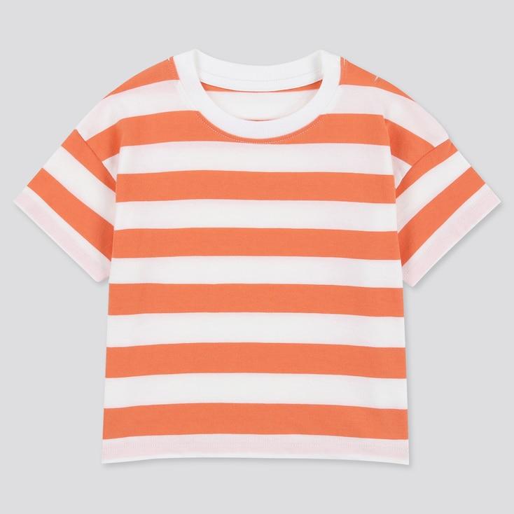 Toddler Crew Neck Striped Short-Sleeve T-Shirt, Orange, Large