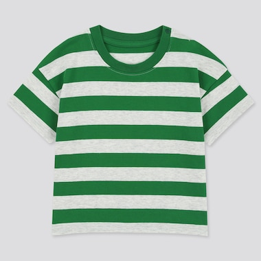 Toddler Crew Neck Striped Short-Sleeve T-Shirt, Green, Medium
