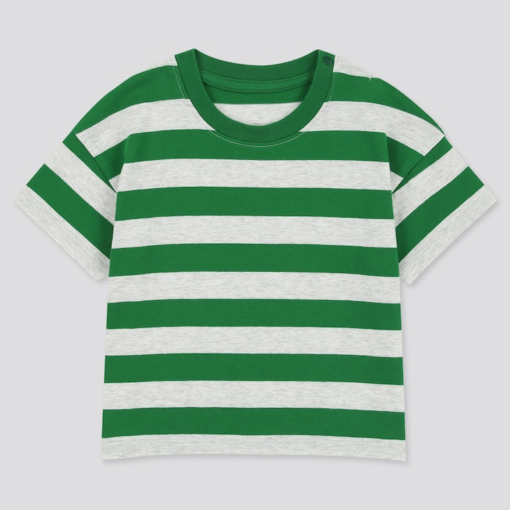 Toddler Crew Neck Striped Short-Sleeve T-Shirt, Green, Large