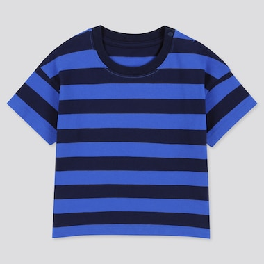 Toddler Crew Neck Striped Short-Sleeve T-Shirt, Navy, Medium