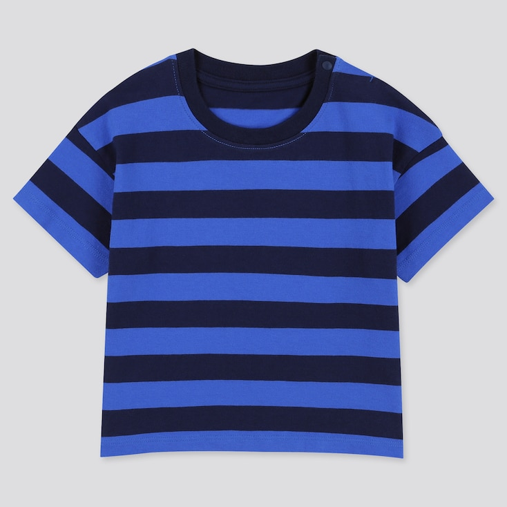 Toddler Crew Neck Striped Short-Sleeve T-Shirt, Navy, Large