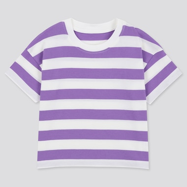 Toddler Crew Neck Striped Short-Sleeve T-Shirt, Purple, Medium