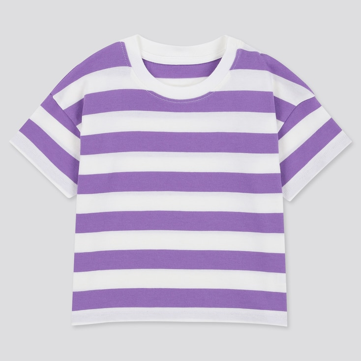 Toddler Crew Neck Striped Short-Sleeve T-Shirt, Purple, Large