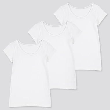 Babies Toddler Cotton Short Sleeved Inner T-Shirt (Three Pack)