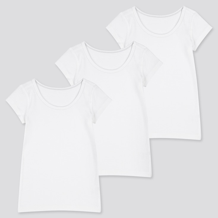 Toddler Cotton Inner Short-Sleeve T-Shirt (Set Of 3) (Online Exclusive), White, Large
