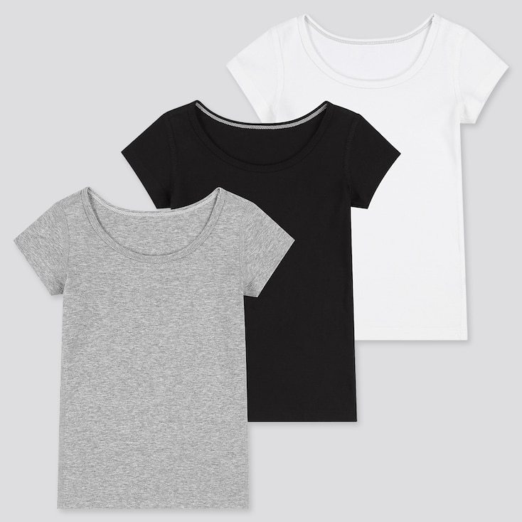 Toddler Cotton Inner Short-Sleeve T-Shirt (Set Of 3) (Online Exclusive), Gray, Large