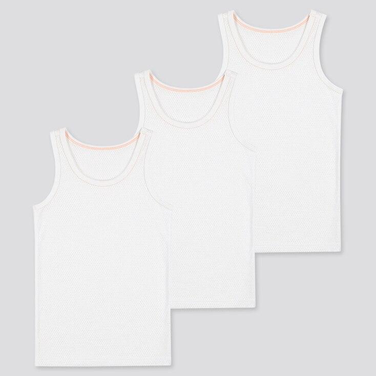 Toddler Cotton Mesh Inner Tank Top (Set Of 3), White, Large