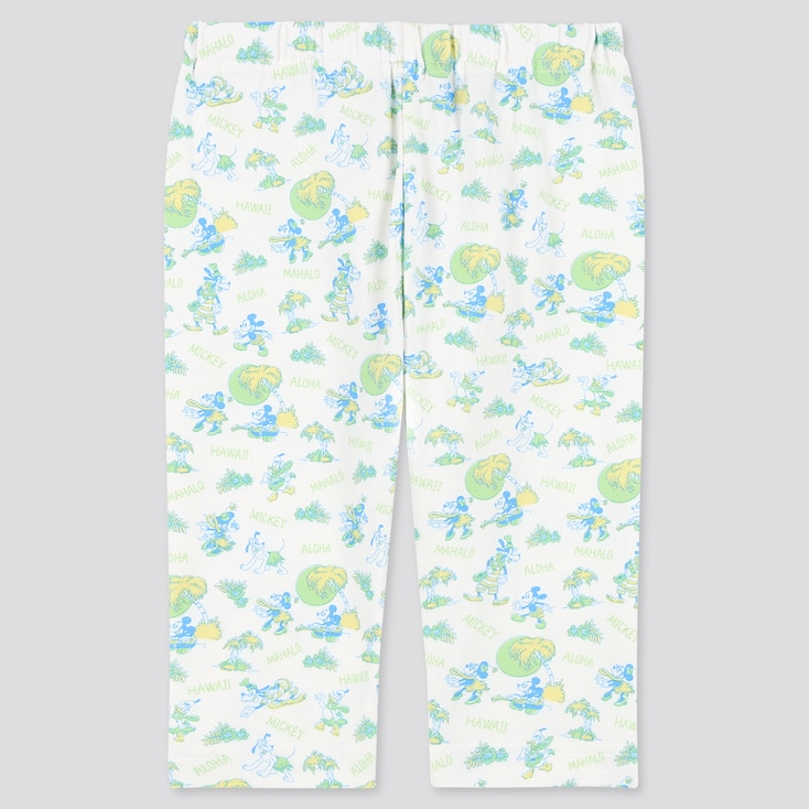 Baby Mickey Aloha Cropped Leggings, Off White, Large
