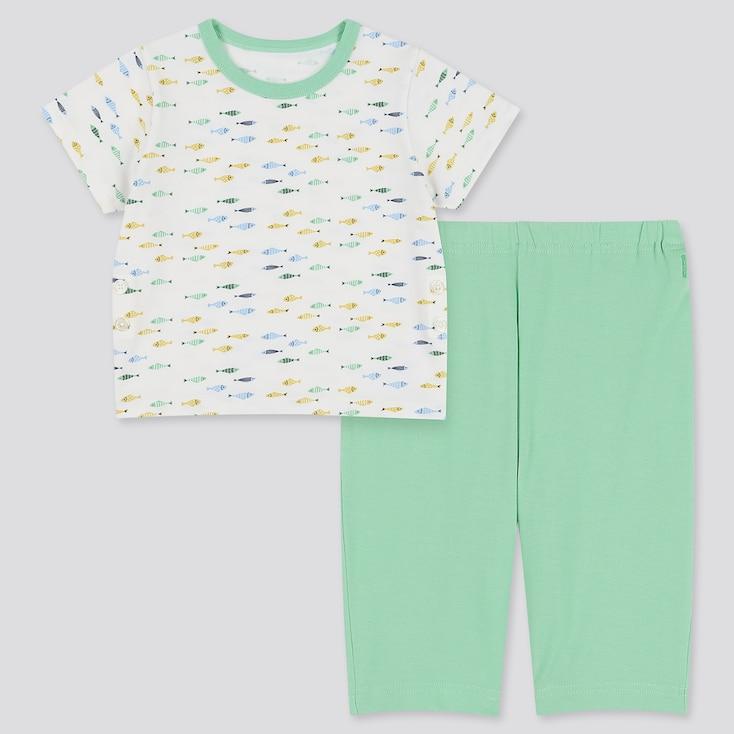 Toddler Dry Short-Sleeve Pajamas, White, Large