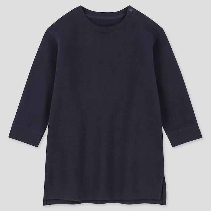 Toddler  Long-Sleeve Sweat Dress, Navy, Large