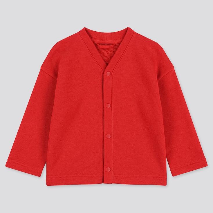 Toddler Sweat Long-sleeve Cardigan, Red, Large