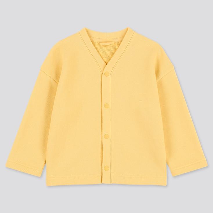 Toddler Sweat Long-sleeve Cardigan, Yellow, Large
