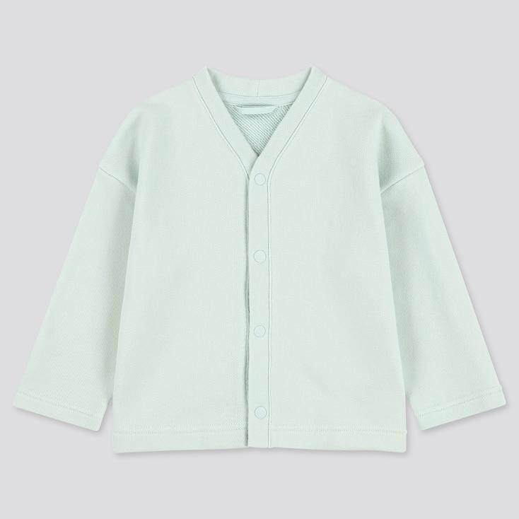 Toddler Sweat Long-sleeve Cardigan, Light Blue, Large