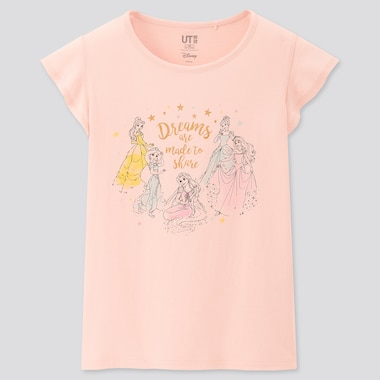 Kids Disney Heroines Ut (Short-Sleeve Graphic T-Shirt), Pink, Medium