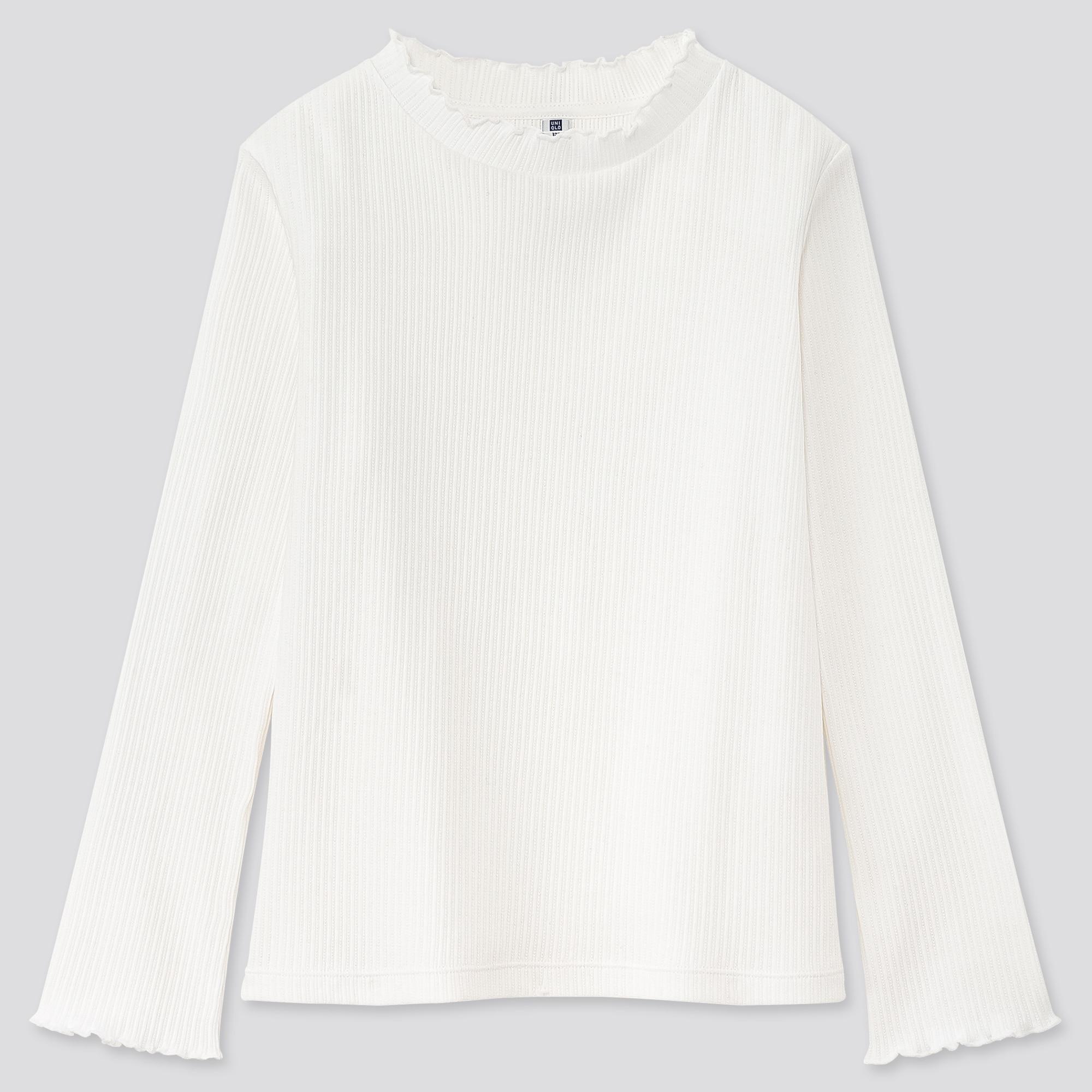 Girls Ribbed Frill High Neck Long Sleeved T-Shirt