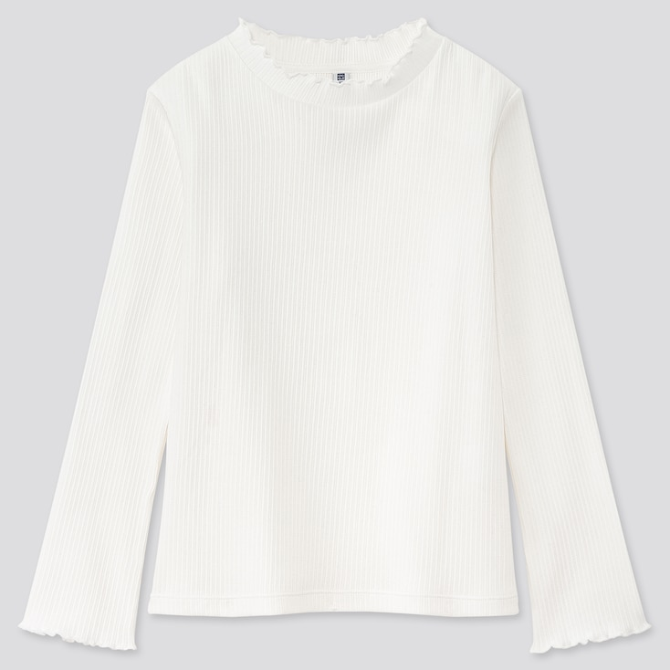 Girls Ribbed Frill High-Neck Long-Sleeve T-Shirt, Off White, Large
