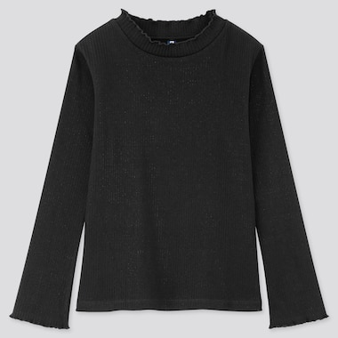 Girls Ribbed Frill High Neck Long Sleeved T-Shirt