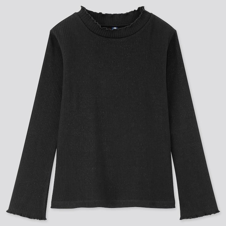 Girls Ribbed Frill High-Neck Long-Sleeve T-Shirt, Black, Large