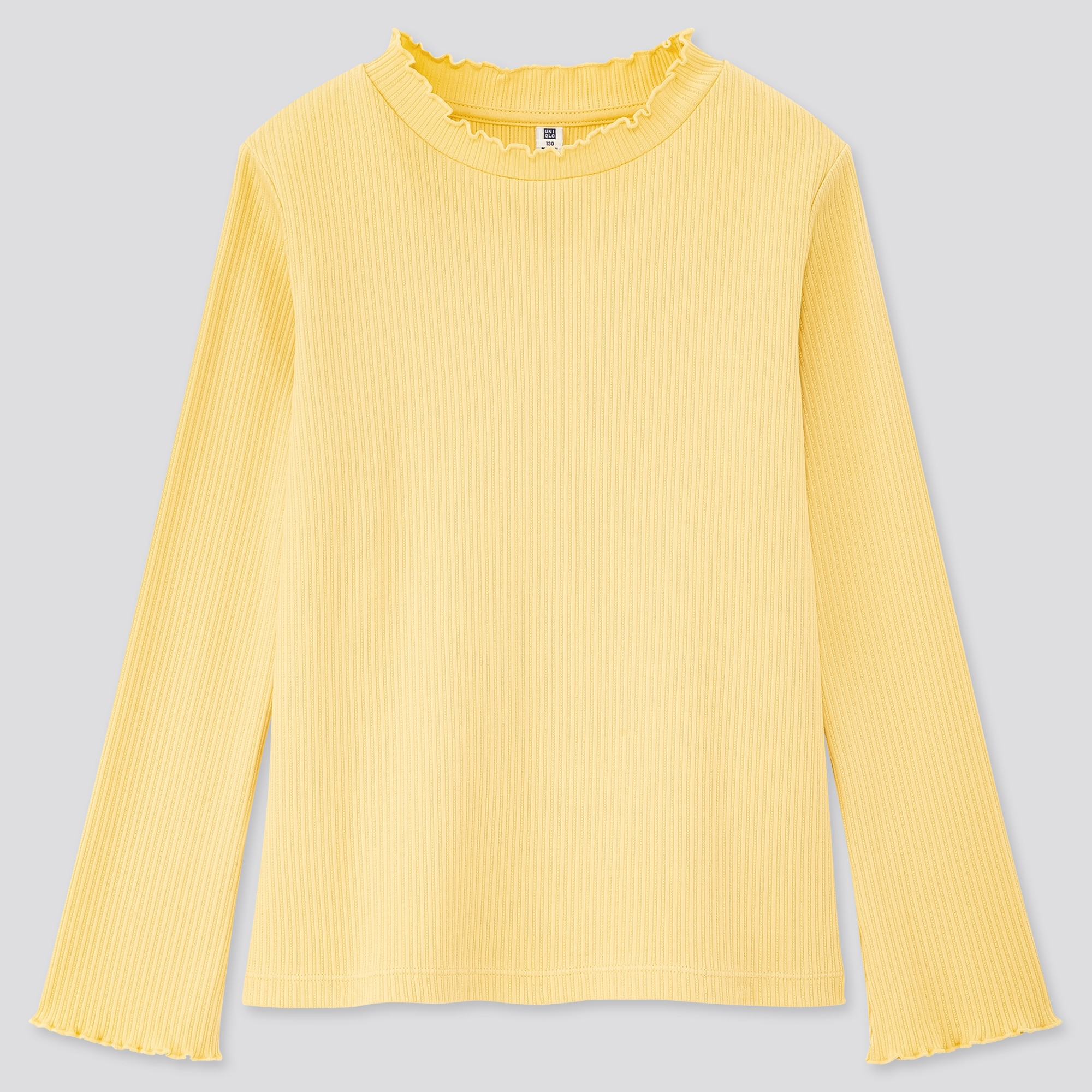 GIRLS RIBBED FRILL HIGH-NECK LONG-SLEEVE T-SHIRT
